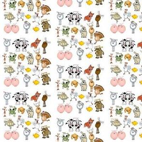 Cartoon animals united for fun.