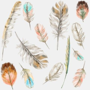 Watercolor Feathers on Gray
