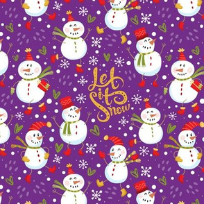 Festive Snowmen - Purple