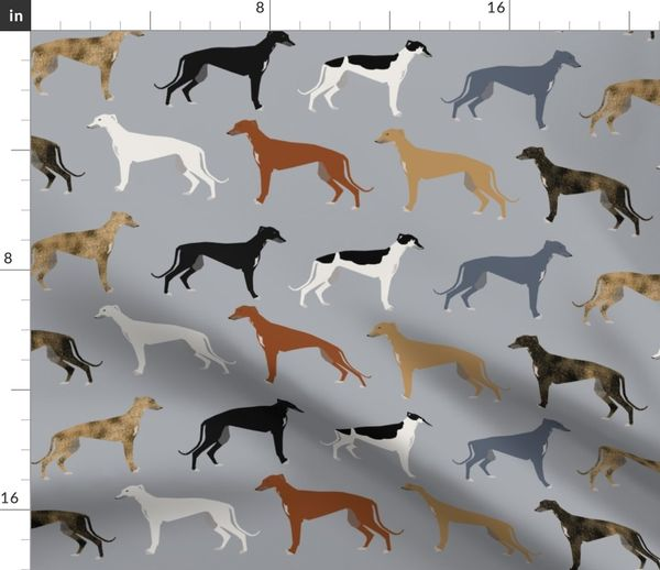 Fabric By The Yard Greyhounds Fabric Larger Version Dogs Greyhound Coats Colors Fabric