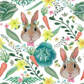 watercolor Rabbit & cabbage, Carrots Nursery