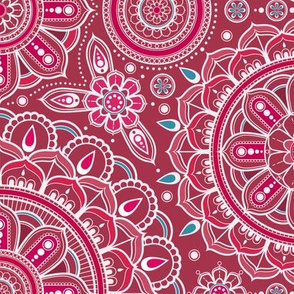 Large Red and Aqua Mandalas