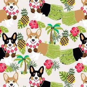 corgi hula fabric hawaiian tropical summer corgis pineapple fabric
