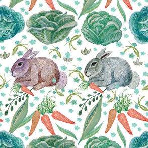 Garden bunny, baby rabbit, rabbit and cabbage, rabbit and carrot, nursery