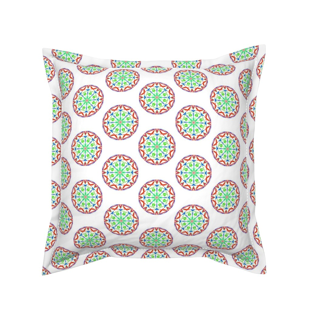 Serama Throw Pillow featuring Cosmic Cogs on Snowy White by rhondadesigns