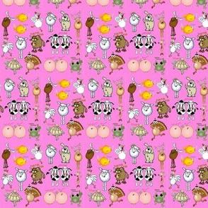 Cartoon animals on a pink background.