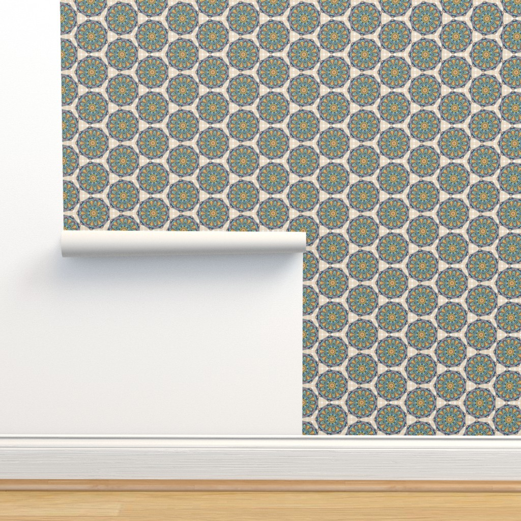 Isobar Durable Wallpaper featuring Mandala feathers, Golden and Aqua by palifino