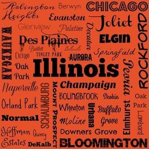 Illinois Cities, orange