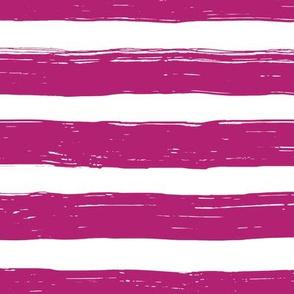 Bristle Stripes - Plum on White