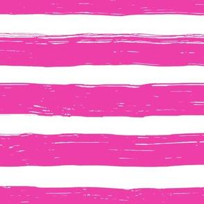 Bristle Stripes - Raspberry on White