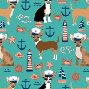 chihuahua dog fabric nautical summer dogs design - turquoise