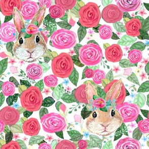 Rabbit in the roses //Watercolor floral