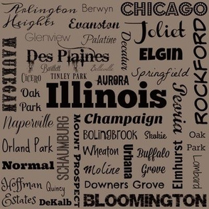Illinois cities, taupe