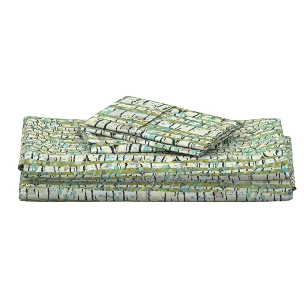 Langshan Full Bed Set featuring Birch Trees Green by sarah_treu