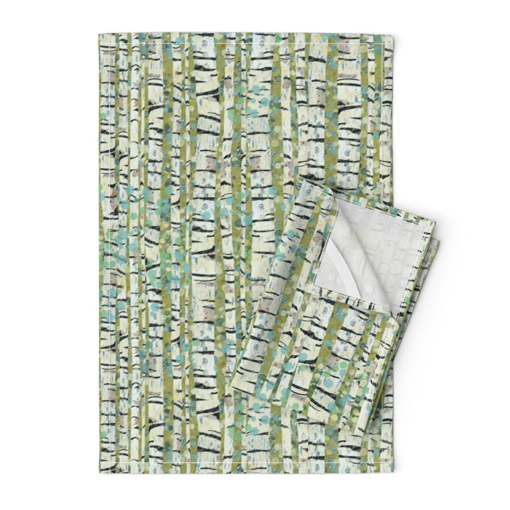 Orpington Tea Towels featuring Birch Trees Green by sarah_treu