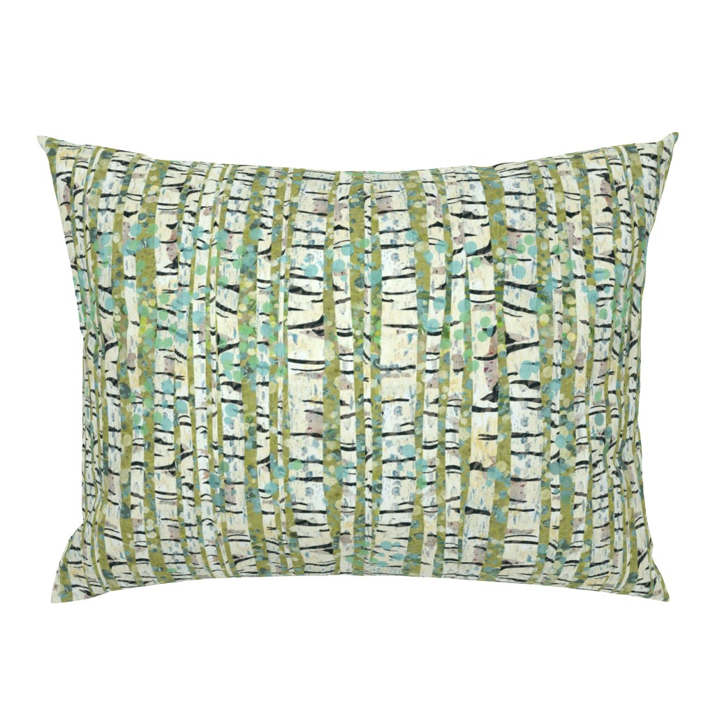 Campine Pillow Sham featuring Birch Trees Green by sarah_treu