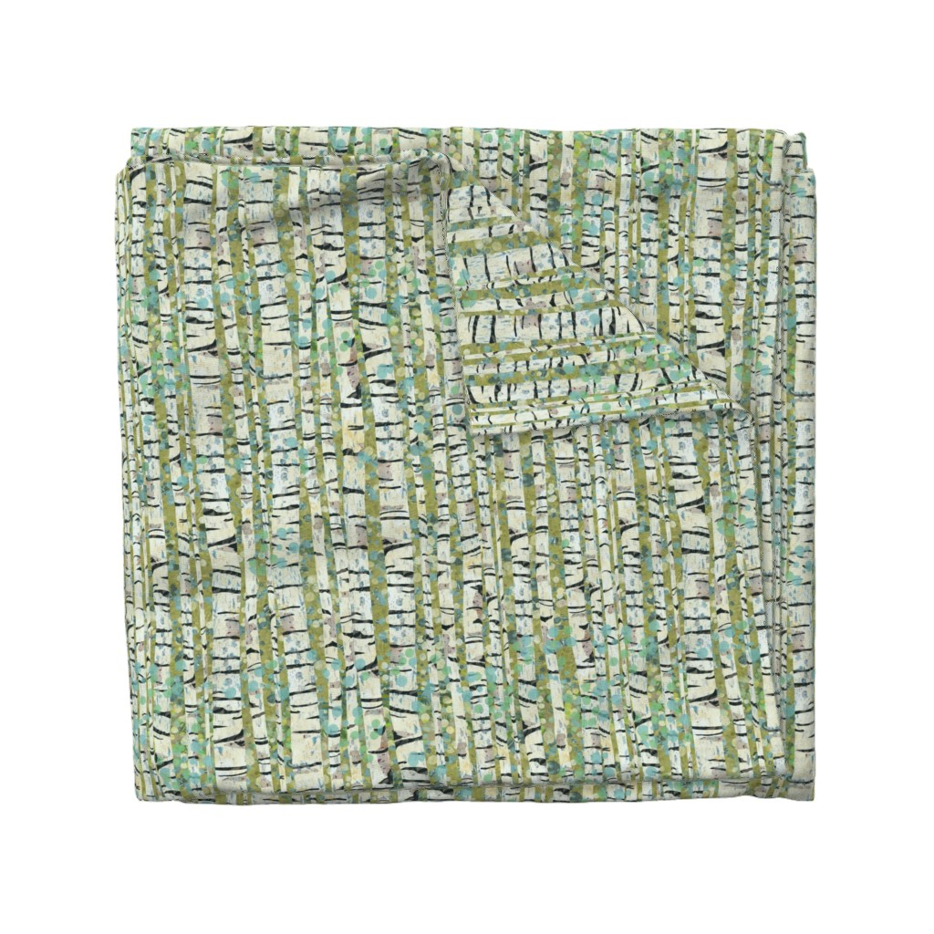 Wyandotte Duvet Cover featuring Birch Trees Green by sarah_treu