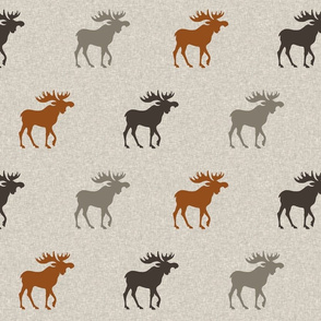 Moose - Rust, brown, grey/taupe on linen
