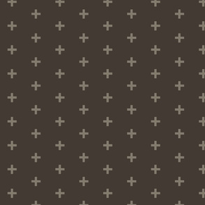 Plus Crosses - Taupe on Brown
