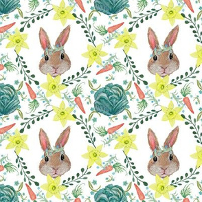 Easter bunny, baby rabbit, rabbit and cabbage, rabbit and carrot, nursery. Boho bunny / rabbit floral