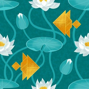 Tangram goldfish and water lilies