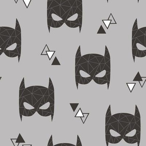 Geometric Bat Mask Black & White with Triangles on Grey
