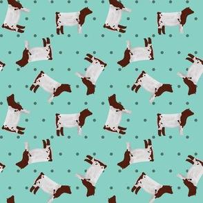 Polka Dot Shorthorn Steer - Teal