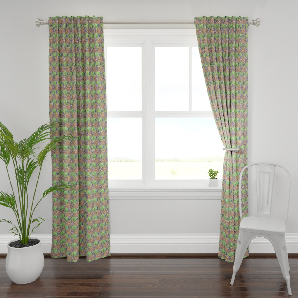 Plymouth Curtain Panel featuring Crocosmia by toffeeappletextiles