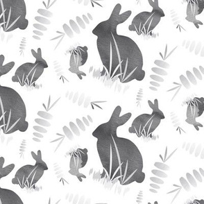 Large Easter Bunny Rabbit Garden Gray Neutral Animal Carrot Vegetable_Miss Chiff Designs