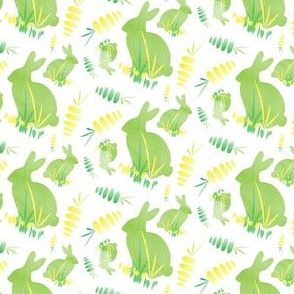 Easter Bunny Rabbit Animal Carrot Yellow Spring Green Vegetable Garden_Miss Chiff Designs