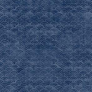 Japanese Block Print Pattern of Ocean Waves | Japanese Waves Pattern in Indigo Blue, Navy Boho Print, Beach Fabric.