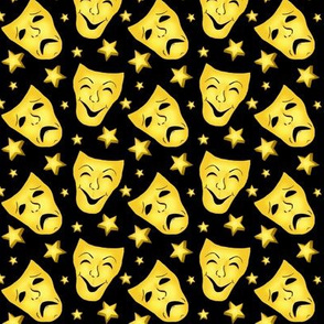 Stage Theater - Comedy/Tragedy Gold Masks on Black  med-small