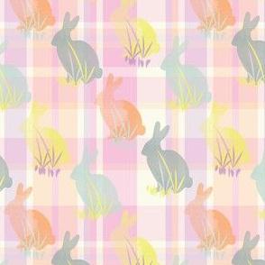 Easter Bunny Plaid Pastel Rabbit Animal Pink Gray Grey Yellow Orange _Miss Chiff Designs