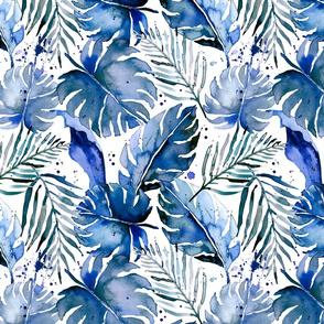 tropical plants in indigo