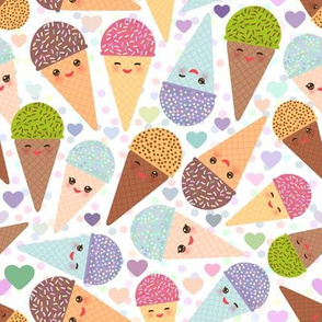 Ice cream cone kawaii Colorful sweet summer popsicle sugar pastel Kawaii funny Ice cream waffle cone, muzzle with pink cheeks and winking eyes, pastel colors on white background. illustration