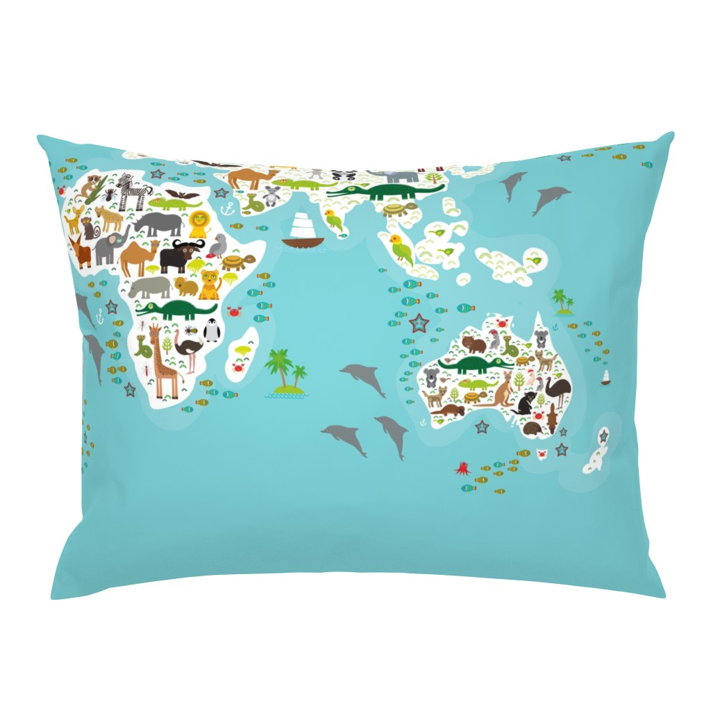 Campine Pillow Sham featuring Cartoon animal world map for children and kids, Animals from all over the world, white continents and islands on blue background of ocean and sea. illustration growth blanket by ekaterinap