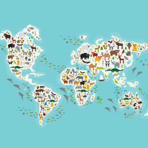 Cartoon animal world map for children and kids, Animals from all over the world, white continents and islands on blue background of ocean and sea. illustration growth blanket Size Yards (42 width)