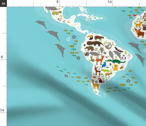 Fabric by the Yard Cartoon animal world map for children and kids, Animals  from all over the world, white continents and islands on blue background of  ...