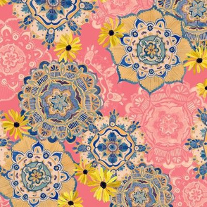 Mandala Medley Pink and Blue