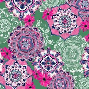 Mandala Medley Pink and Green