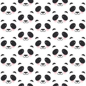 Kawaii funny panda white muzzle with pink cheeks and big black eyes  on white background. illustration