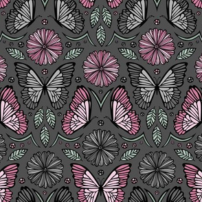 Butterfly Damask (Pink and Mint)