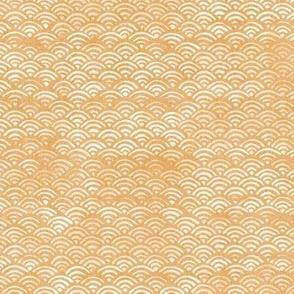 Japanese Block Print Pattern of Ocean Waves | Japanese Waves Pattern in Yellow Ochre, Gold Boho Print, Beach Fabric.