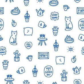 Stay home, blue doodles pattern