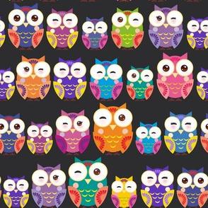 owl bright colorful owls on black background. illustration