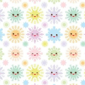Snowflakes Christmas design seamless pattern, Kawaii snowflake set blue mint orange pink lilac funny face with eyes and pink cheeks on white background