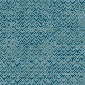 Japanese Block Print Pattern of Ocean Waves | Japanese Waves Pattern in Teal Blue, Blue Green Boho Print, Beach Fabric.