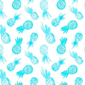 Watercolor turquoise pineapples