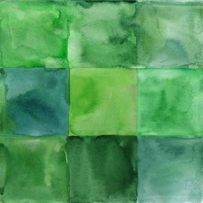 Green watercolor square pattern