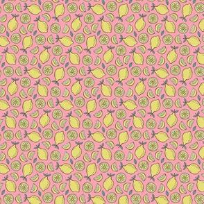 Lemon Citrus on Pink Tiny Small